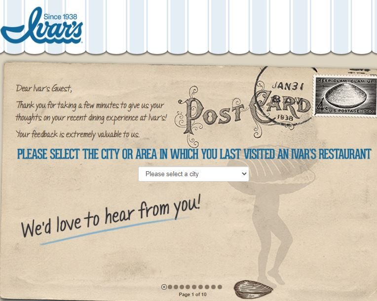 Ivars Restaurant survey