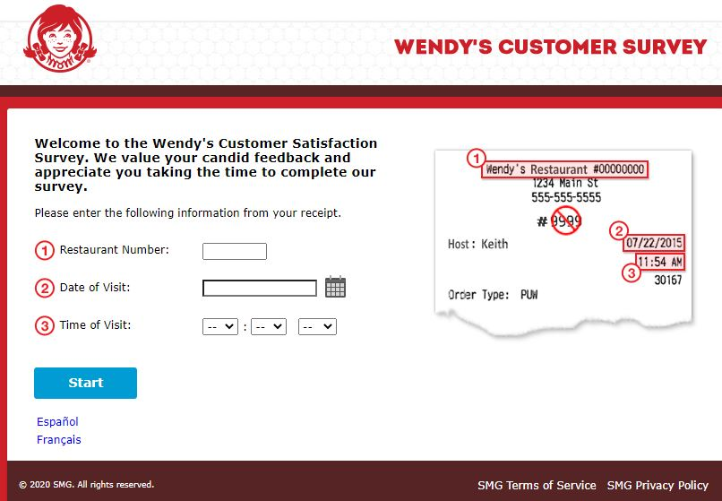 wendys store number for survey