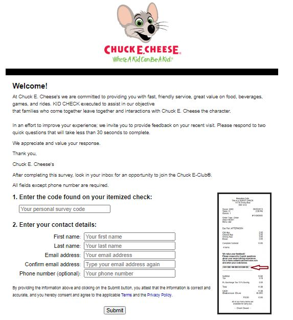 Chuck E. Cheese Survey