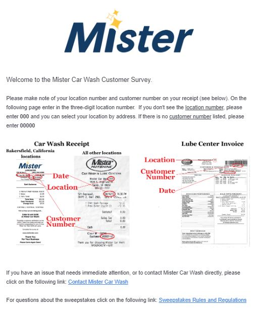 Mister Car Wash survey